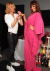 selita-ebanks-in-floor-length-pink-gown-with-designer-marc-bouwer-trying-on-simon-g-jewelry