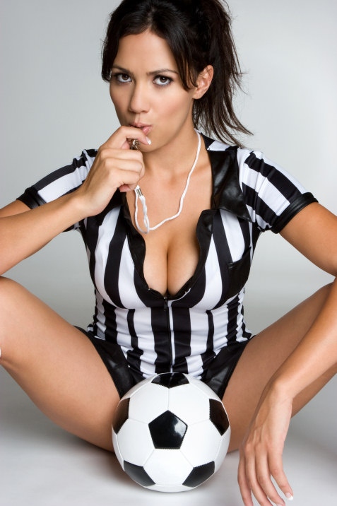 hot babe in sexy referee costume